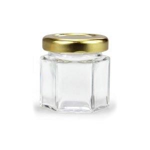 Glazen kruidenpotje zeskant