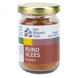 Rundvleeskruiden in glazen potje van Het Blauwe Huis (zonder zout)