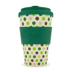 Koffiebeker van bamboe 400 ml van Ecoffee Cup Green Polka